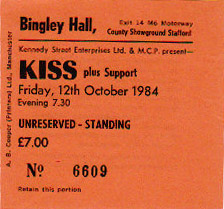 Ticket from 12 October 1984 show Stafford, England
