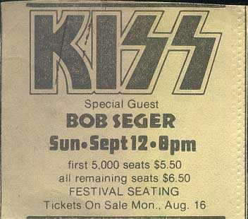 Advert from Springfield, MA, USA 12 September 1976 show