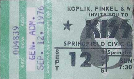 Ticket from Springfield, MA, USA 12 September 1976 show