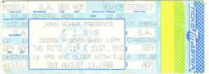 Ticket from New York, NY, USA 13 August 1988 show