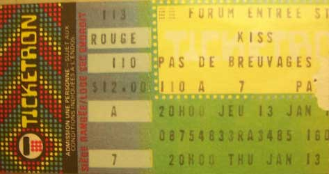 Ticket from Montreal, Canada 13 January 1983 show