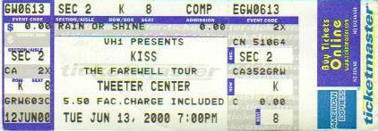 Ticket from Mansfield, MA, USA 13 June 2000 show