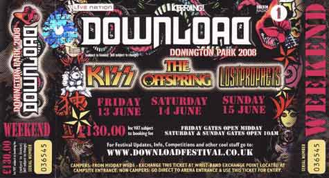 Ticket from Donington, England 13 June 2008 show