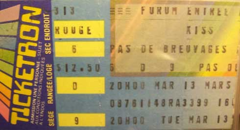 Ticket from Montreal, Canada 13 March 1984 show