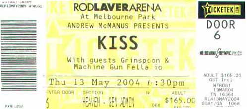 Ticket from 13 May 2004 show Melbourne, Australia