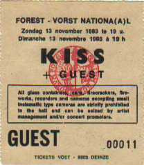 Ticket from Brussels, Belgium 13 November 1983 show