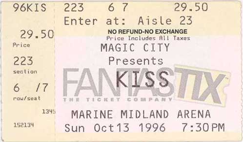 Ticket from Buffalo, NY, USA 13 October 1996 show