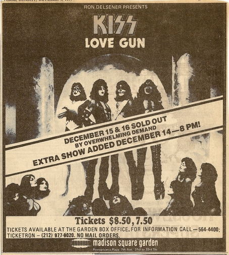 Advert from New York, NY, USA 16 December 1977 show