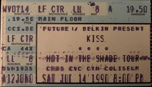 Ticket from Charleston, WV, USA 01 November 1990 show (rescheduled from 14 July 1990)