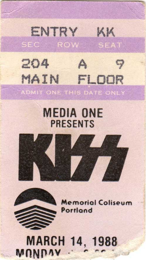 Ticket from Portland, OR, USA 14 March 1988 show