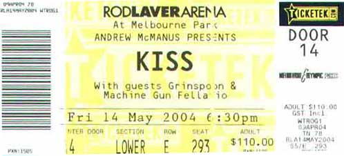 Ticket from 14 May 2004 show Melbourne, Australia
