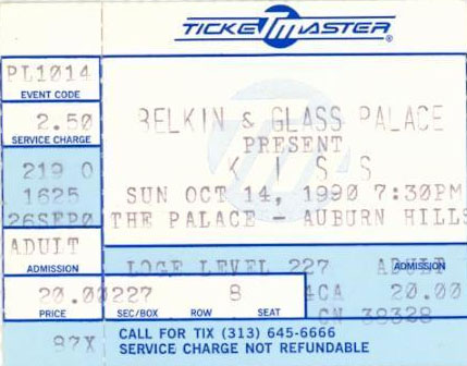 Ticket from Auburn Hills (Detroit), MI, USA 14 October 1990 show