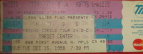 Ticket from Minneapolis, MN, USA 15 December 1998 show