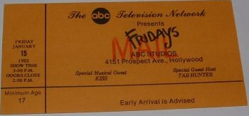 Ticket from 15 January 1982 show Los Angeles, CA, USA