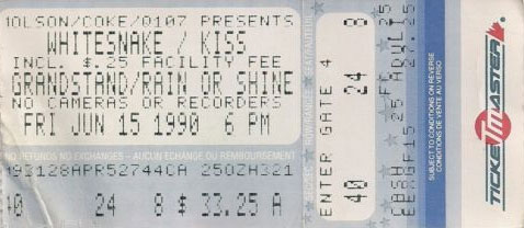 Ticket from Toronto, Canada 15 June 1990 show