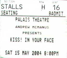 Ticket from 15 May 2004 show Melbourne, Australia