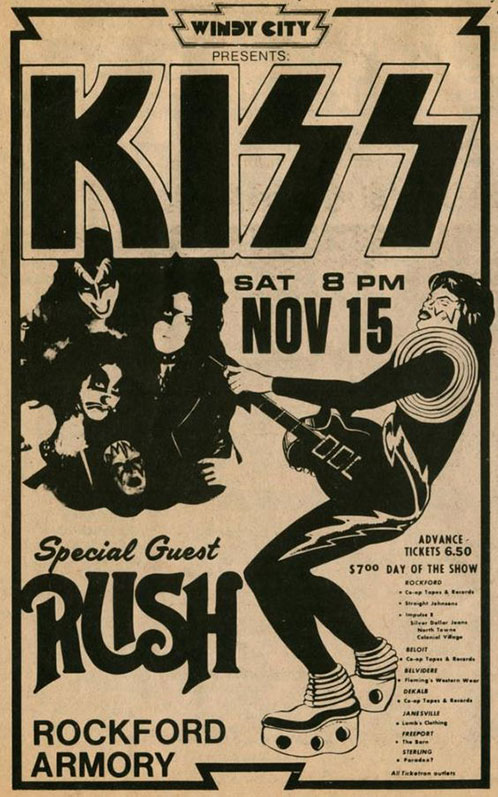 Poster from Rockford, IL, USA 15 November 1975 show