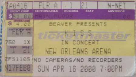 Ticket from New Orleans, LA, USA 16 April 2000 show