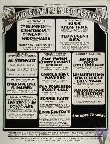 Advert from San Francisco, CA, USA 16 August 1977 show