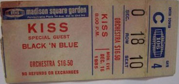 Ticket from New York, NY, USA 16 December 1985 show