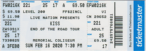 Ticket from Fort Wayne, IN, USA 16 February 2020 show