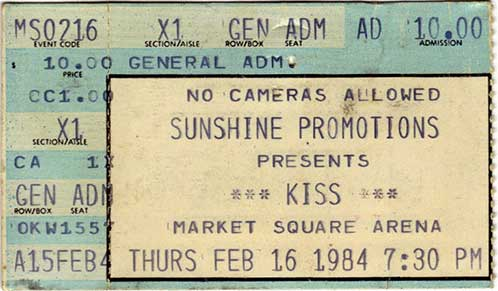 Ticket from Indianapolis, IN, USA 16 February 1984 show