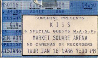 Ticket from Indianapolis, IN, USA 16 January 1986 show
