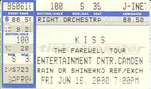 Ticket from Camden (Philadelphia), NJ, USA 16 June 2000 show