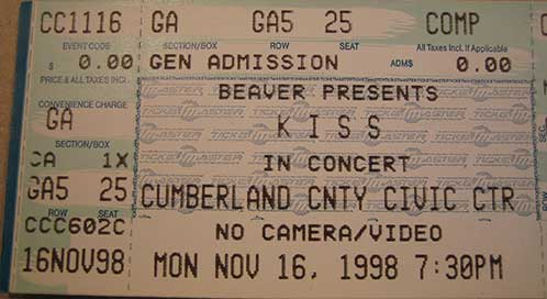 Ticket from Portland, ME, USA 16 November 1998 show