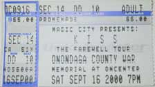 Ticket from Syracuse, NY, USA 16 September 2000 show