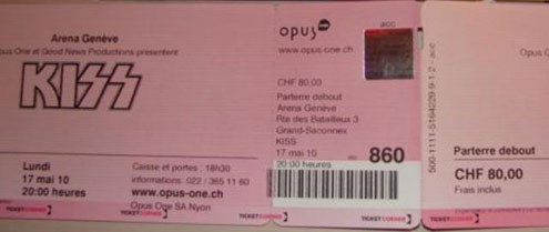 Ticket from Geneva, Switzerland 17 May 2010 show