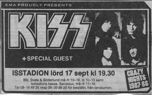 Advert from Stockholm, Sweden 17 September 1988 show