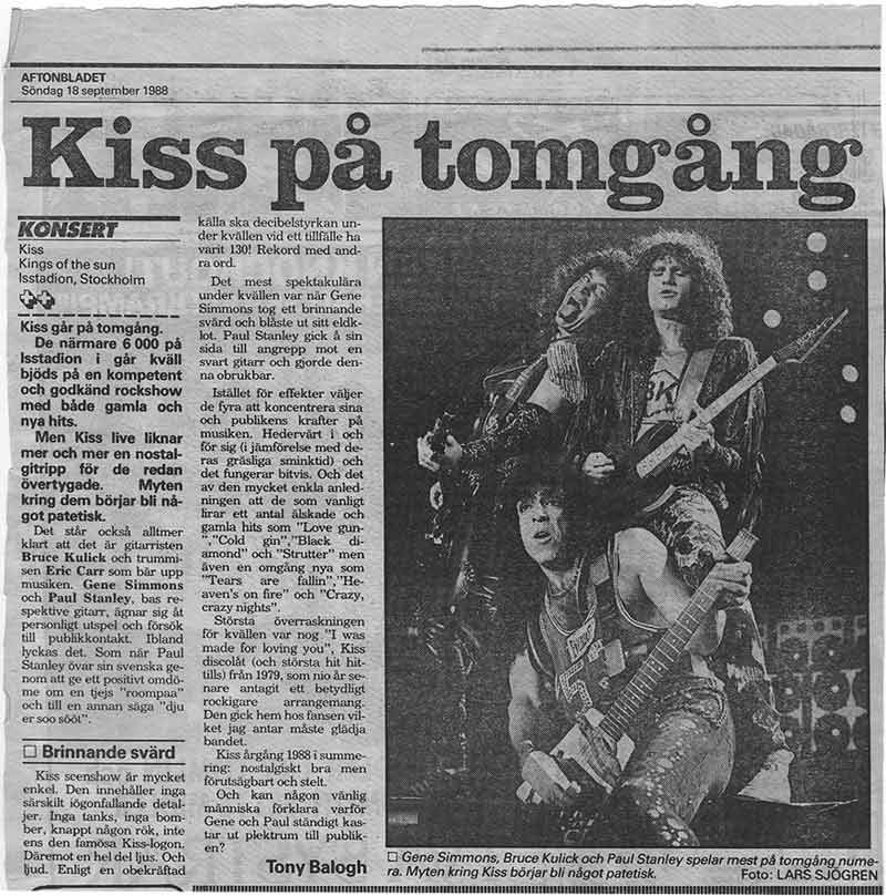 Review from Stockholm, Sweden 17 September 1988 show