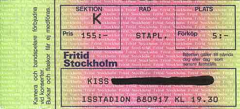Ticket from Stockholm, Sweden 17 September 1988 show