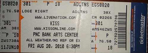 Ticket from Holmdel, NJ, USA 20 August 2010 show