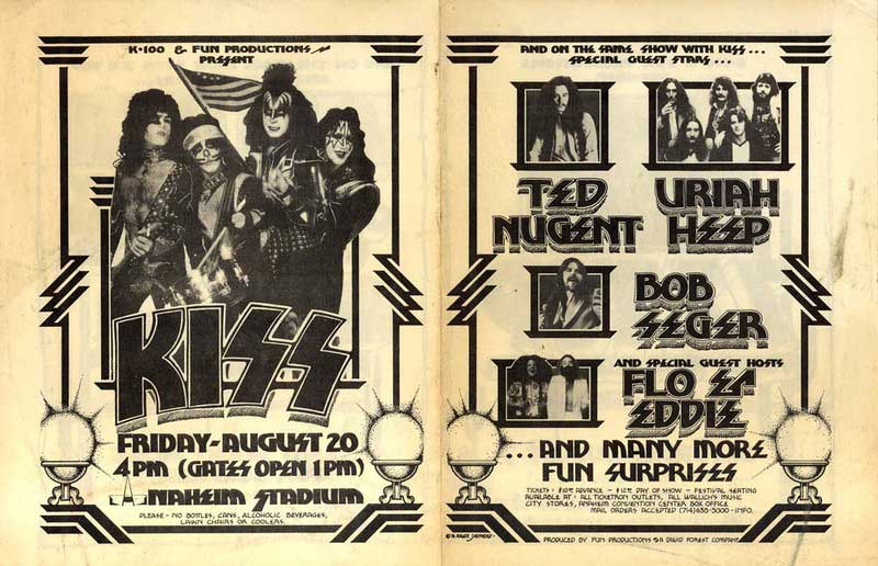 Poster from Anaheim, CA, USA 20 August 1976 show