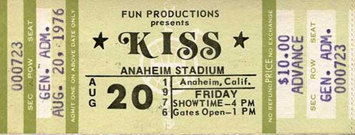 Ticket from Anaheim, CA, USA 20 August 1976 show