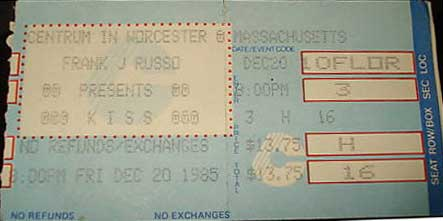 Ticket from Worcester, MA, USA 20 December 1985 show