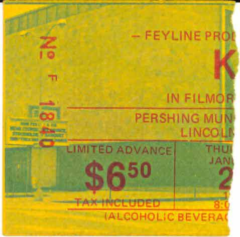 Ticket from Lincoln, NE, USA 20 January 1977 show