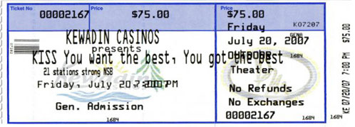 Ticket from Sault Ste. Marie, MI, USA 20 July 2007 show