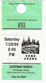 Parking pass from 20 July 1996 show Cleveland, OH, USA