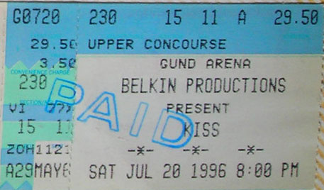 Ticket from 20 July 1996 show Cleveland, OH, USA