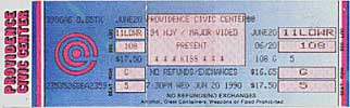 Ticket from Providence, RI, USA 20 June 1990 show