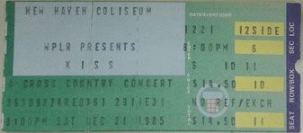 Ticket from New Haven, CT, USA 21 December 1985 show
