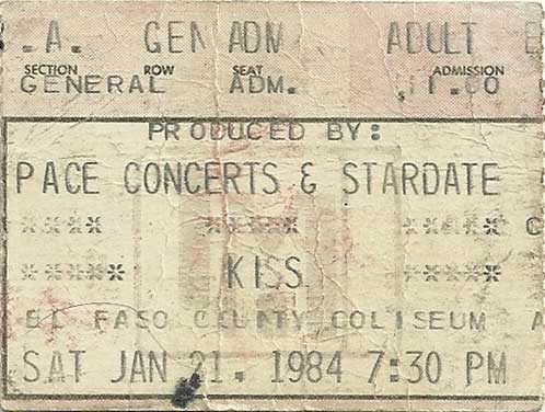 Ticket from El Paso, TX, USA 21 January 1984 show