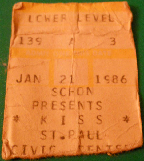 Ticket from St Paul, MN, USA 21 January 1986 show