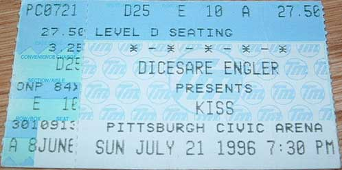 Ticket from 21 July 1996 show Pittsburgh, PA, USA
