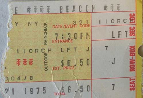 Ticket from New York, NY, USA 21 March 1975 show