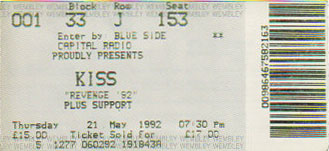 Ticket from London, England 21 May 1992 show