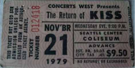 Ticket from Seattle, WA, USA 21 November 1979 show